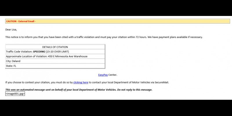 Image for SCAM NOTICE BEING SENT VIA EMAIL REGARDING TRAFFIC INFRACTIONS
